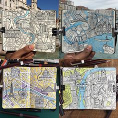 4 of my most resent Moleskine City map drawings Rome Venice Paris and Prague this is a unpaid personal project it's not always about Moleskine, Travel Sketchbook, Art Sketchbook, Map Sketch, Sketches, Travel Maps, Travel Books, Urban Sketching, Journal Pages