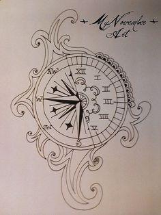 Compass clock tattoo