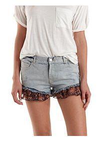 Chiffon-Trim Cut-Off Denim Shorts