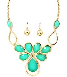 NECKLACE AND EARRING SET / METAL CASTING / BIB / TEAR DROP / EPOXY STONE / FACETED / 16 INCH LONG / NICKEL AND LEAD COMPLIANT /