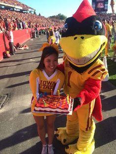 Take a look at the birthday cake our favorite bird got, happy Cy! Alpha Phi Sorority, Greek Week, Iowa State Cyclones, Squad, Take That, Birthday Cake, Spirit, Bird, Happy