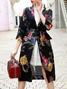 Floral-print Organza Trench Coat