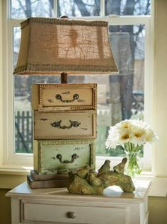 Old drawers repurposed. love this lamp Repurposed Items, Repurposed Furniture, Shabby Chic Furniture, Recycled Decor, Furniture Vintage, Furniture Makeover, Diy Furniture, French Furniture, Lamp Makeover