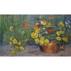 Clara D. Davidson - Garden Flowers, 1916, Oil on...