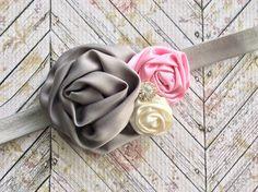Pink Gray Ivory Roses Rhinestone Stretch Headband 18Mos-3Yrs by IzzieBeesBoutique on Etsy https://www.etsy.com/listing/244671932/pink-gray-ivory-roses-rhinestone-stretch