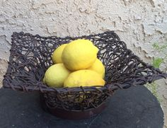 Vintage  square basket  metal and twig frame. Fruit bowl kitchen decor home decor by LADYG99 on Etsy