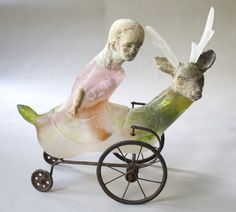 Centaur   cast glass, raku clay, oil paints, and found object   21 x 21 x 11 inches  Christina Bothwell