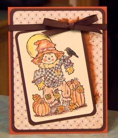 Scarecrow card, Happy Fall in the Pumpkin Patch. Stamp by Serendipity