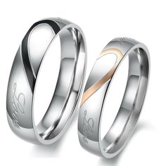 "Matching Titanium Men and Women`s Couples Heart Wedding Rings with ""Real Love ""engraved words ,Choose your size drom Drop down menu. Polished Silver tone Titanium Band, Mens : 7mm in width Womens : 5mm in width"