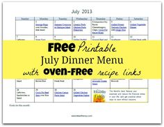 Free Printable July Dinner Menu with oven free recipes