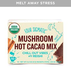 What does it do? Melts away stress and balances hormones. What is it? Helps you get rid of sweet cravings. How many? 10 powder packets per box. How powerful is it? 500 mg of dual-extracted, log-grown red reishi mushroom fruiting bodies per serving. Can I have it? Vegan, no fillers, non-GMO, low GI. How do I use it? Add one packet to 3 fluid oz. of hot water. What a perfect way to end the day The unique combo of herbs and spices in this hot cocoa is designed to help you wind down and enjoy…