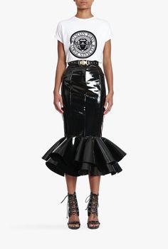 Long flounced coated jersey skirt   Women's skirts   Balmain