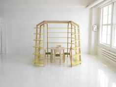 A very clever bookshelf that creates a study within itself, designed by Linda Bergroth