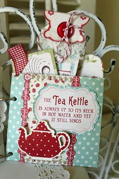 Time for Tea Mini Album - Scrapbook.com - Such a sweet idea. #scrapbooking #minialbum