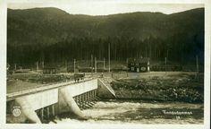 Telemark fylke Tinn kommune TINNOSET. Stasjonen med togsett i bakgrunnen, ved Tinnosdammen Utg Oppi Ancestry, Railroad Tracks, Train Tracks