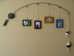 Old Fishing Pole...re-purposed into a unique photo hanger