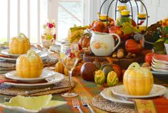 "♥ Plymouth - ""A Pfaltzgraff Pattern A celebration of the abundance that is autumn, Plymouth dinnerware features embossed pumpkins, acorns and ears of corn on a warm, creamy white surface. Sculpted acorn finials finish the lids of hollowware pieces. Platters and plates feature scalloped rims accented with gently flowing, weathered lines. A simple, lovely harvest pattern, Plymouth is ideal for Thanksgiving or any autumn occasion."""