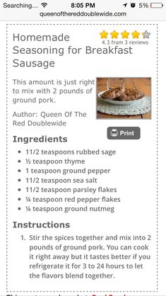 Breakfast sausage seasoning recipes salts 45 Trendy ideas – Famous Last Words Homemade Sausage Recipes, Homemade Spices, Homemade Seasonings, Pork Recipes, Salami Recipes, Breakfast Sausage Seasoning, Sausage Spices, Homemade Breakfast Sausage, Recipe For Sausage Seasoning