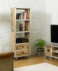 Beautiful Roadie Chic Tall Bookcase (with drawers) – Chattels
