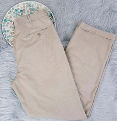 Haggar Mens Pants Size 36x34 Beige Pleated Cuffed Straight Leg Career Slacks 110 #Haggar #DressPleat