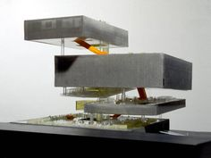 SYED In this example, Architecture firm OMA used a physical model which they described as a hyper rational program based model. This model is divided into three sections and these sections identify the users circulation and book's location. This model helped them to show the process of both construction and function to their clients.