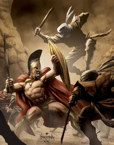 300 Movie Illustration by Ben Herrara Spartan Warrior, Viking Warrior, Spartan Helmet, Vikings, Gods Of War, 300 Movie, Spartan Tattoo, Greek Warrior, Sword And Sorcery