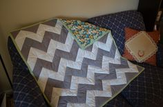 Chevron baby quilt in grey and white