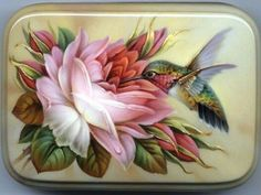 Russian Lacquer Box by Oleg Gavrilov - Nail Art Hummingbird Painting, Hummingbird Tattoo, Bird Pictures, Pictures To Paint, Art Floral, Bird Applique, Tile Murals, China Painting, Russian Art