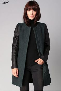 Manteau bi-matière vert/noir Ulgi Ichi prix promo Manteau Femme Monshowroom 129.00 €