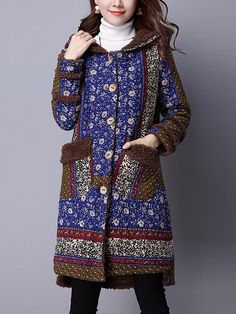 Sale 19% (45.69$) - Ethnic Chinese Style Printing Hooded Velvet Thick Women Loose Coat