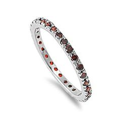 Best 3: 1.00 Carat (ctw) Sterling Silver Rhodium Plated Round Red Garnet CZ Cubic Zirconia Ladies Eternity Stackable Ring Wedding Anniversary Band (Available in size 6, 7, 8) elegant jewelry reviews
