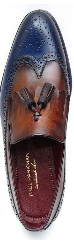 PAUL PARKMAN KILTIE TASSEL LOAFER DARK BROWN & NAVY Website: www.paulparkman.com #paulparkman #mensshoes #luxury #handmade #tasselloafer #wingtip