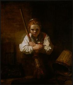 Girl with a Broom. Carel Fabritius (1622-1654) was a pupil of Rembrandt, and probably his most talented pupil. Only 15 paintings by Fabritius are known. He died in October 1654, in an explosion of a gun powder magazine in Delft. The blast killed over 100 people and destroyed a large part of the city, including Fabritius' studio and many of his paintings.