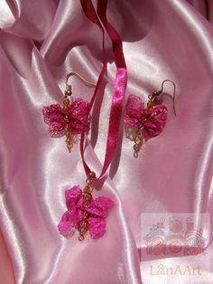 Silk Butterflies jewelry set of pendant and earrings by LanAArt