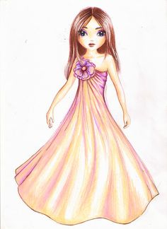 Just another TM design Flower Fairy Dress Illustration, Fashion Illustration Dresses, Baby Girl Dresses, Flower Girl Dresses, Little Girl Illustrations, Fashion Art, Fashion Models, Gown Drawing, Kids Gown