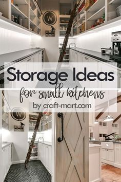 14 Clever Storage Ideas for Small Kitchens - Craft-Mart Clever Storage Ideas for Small Kitchens - rustic farmhouse pantry with easy-access ladder Kitchen Storage Hacks, Small Kitchen Organization, Kitchen Cabinet Storage, Home Organization Hacks, Storage Spaces, Storage Ideas, Small Storage, Kitchen Pantry, Storage Solutions