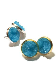 Druzy Studs- denim blue Drusy studs,blue denim, silver or gold- Bridesmaid jewelry 12mm DBKL106