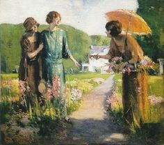 Edward Cucuel (American, 1879-1954.)  Picking Flowers. Found on It's About Time (blog) : Ladies with parasols painted by American artists.