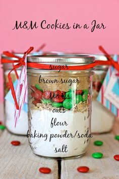M&M Cookies in a Jar - These easy, budget-friendly jars make for the perfect holiday gift that everyone will love!