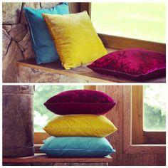 almofadas de veludo molhado by Ana Morelli Color Home Design #almofadas #cores #anamorellicolorhomedesign