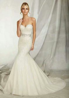 Fit and flare wedding dress.