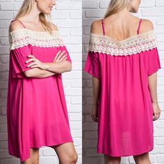 💠💠The SOLVANG off shoulder ️DRESS - FUSCHIA ️🎉HP 4/19🎉DRESS is made out of light material so you will need slip to wear with ️DRESS. Beautiful color & embroidered neckline design. ‼️️NO TRADE‼️ striped Dresses
