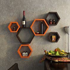 DecorNation Wall Shelf Rack Set Of 6 Hexagon Shape Storage Wall Shelves For Home - Orange & Brown Wall Shelf Rack, Wall Hanging Shelves, Floating Wall Shelves, Wooden Shelves, Hanging Cabinet, Wall Rack Design, Wall Shelves Design, Unique Wall Shelves, Home Decor Furniture