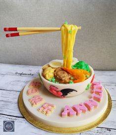 Longevity Noodles Agar Agar Cake (with Flying Chopsticks)* Longevity Noodles, Almond Jelly, 3d Jelly Cake, Cookie Pops, Fancy Desserts, Crazy Cakes, Moon Cake, Fake Food, Birthday Images