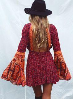 bell sleeve dress + fedora More