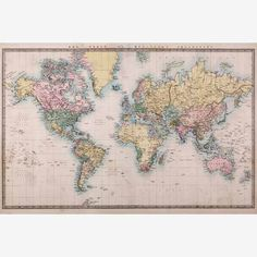 Digital vintage maps antique maps of the world 1570 instant london design inc ustrip world map global community peel and stick removable wall decal mural at lowes canada find our selection of wall decals gumiabroncs Image collections