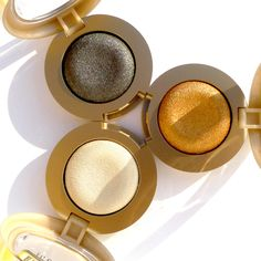 Stíny Milani Bella – Charcoal, Gold, Chiffon (od nejtmavšího po směru hodinových ručiček)