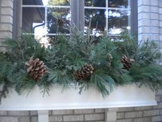 A Christmas/winter window box! Christmas Window Boxes, Winter Window Boxes, Christmas Planters, Christmas Porch, Outdoor Christmas, Christmas Decorations, Fall Planters, Window Box Flowers, Flower Boxes