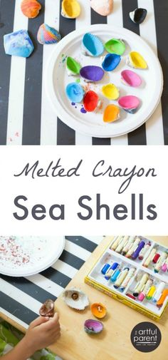 Melted Crayon Sea Shell Crafts for Kids