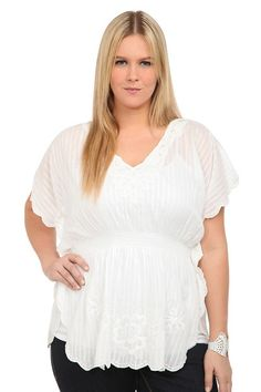 subtle shadow stipped white top with scalloped & lace details